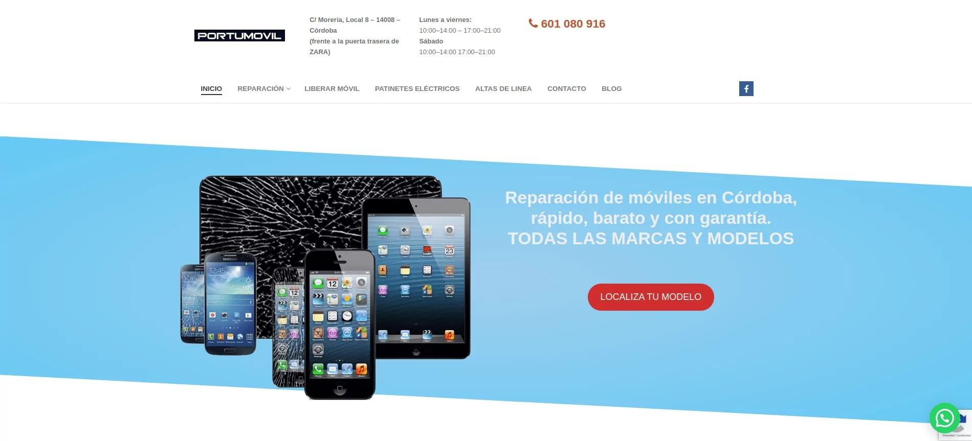 Diseño web de reparación de móviles
