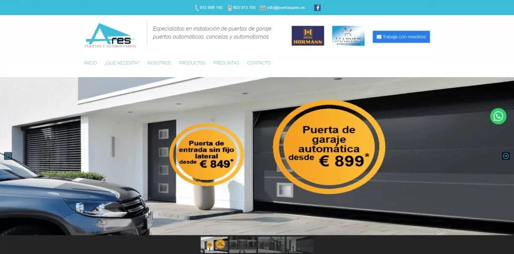 Diseño catálogo online puertas de garaje