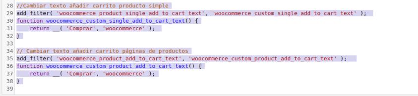 Código texto añadir al carrito en woocommerce