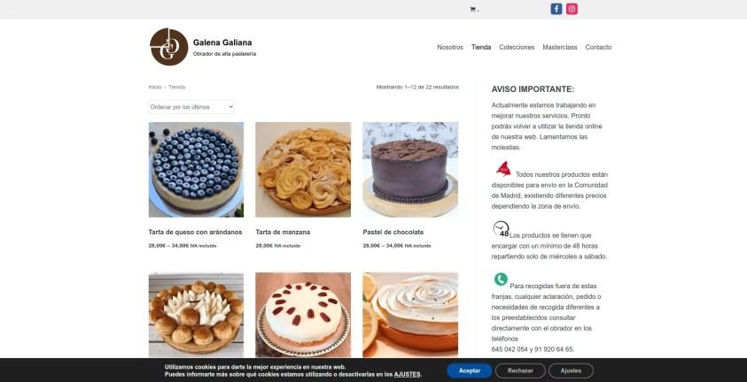 Diseño de pagina web para pastelería 2