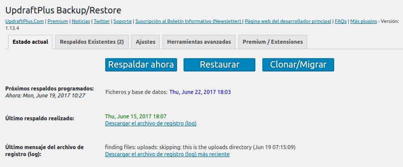 Configuracion UpdraftPlus 2