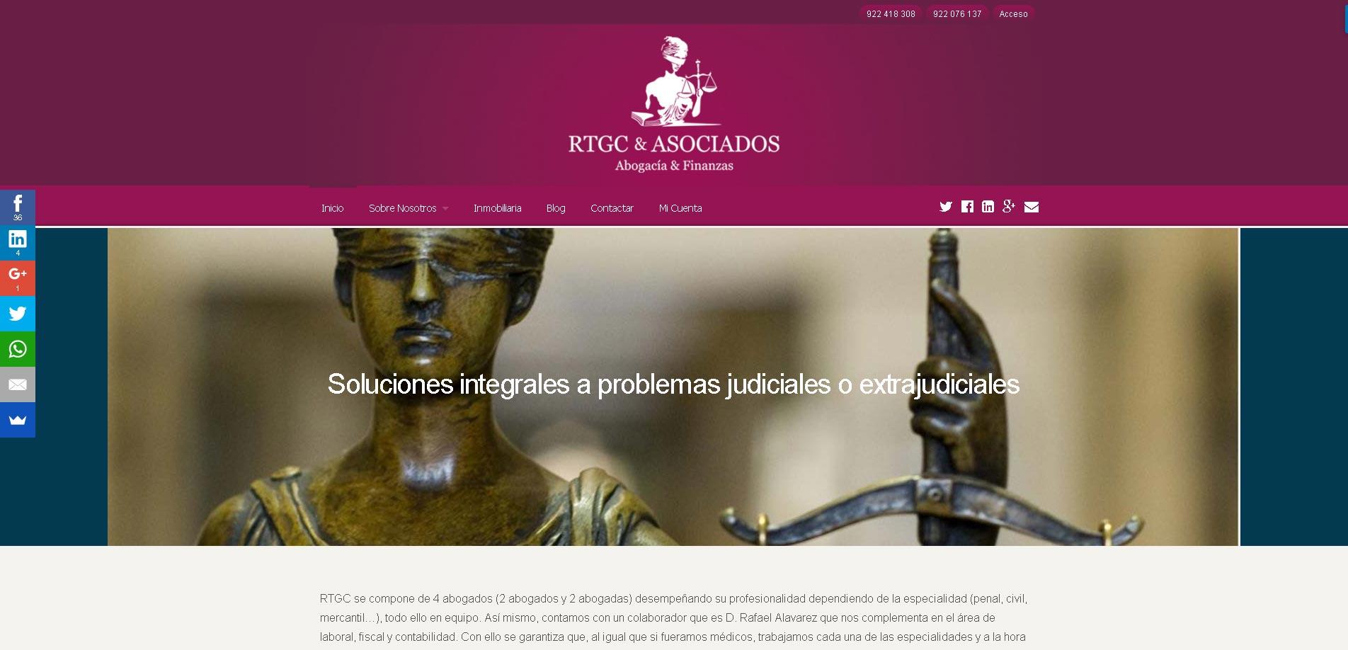 Diseño Web RTGC & ASOCIADOS · Abogacía y Finanzas