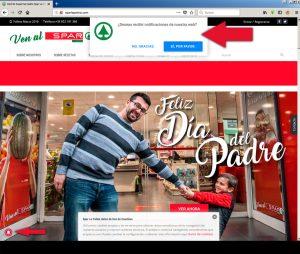 Notificaciones en Navegador Web · Supermercados Spar La Palma