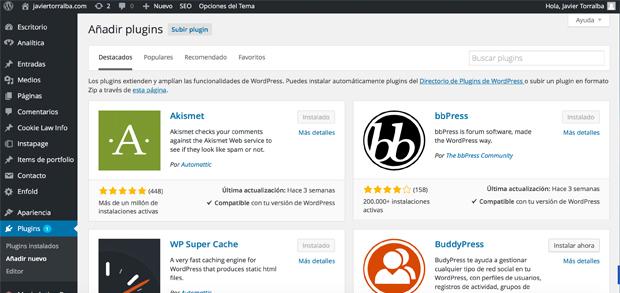 Que son los plugins para WordPress y como instalarlos