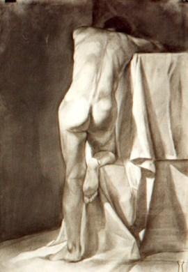 Ejercicio académico, carbón y lápiz conté/papel, 70x50 cm