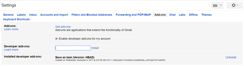 Add-ons in Gmail settings