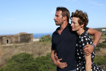 """Matthias Schoenaerts as """"Paul De Smedt"""" and Tilda Swinton as """"Marianne Lane"""" in A BIGGER SPLASH. Photo courtesy of Fox Searchlight Pictures. © 2015 Twentieth Century Fox Film Corporation All Rights Reserved"""