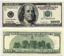 Billte de 100 dólares (B. Franklin en el anverso y el Independence Hall en el reverso)