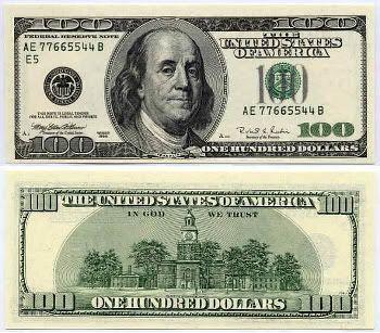 Billete de 100 dólares (B. Franklin en el anverso y el Independence Hall en el reverso)