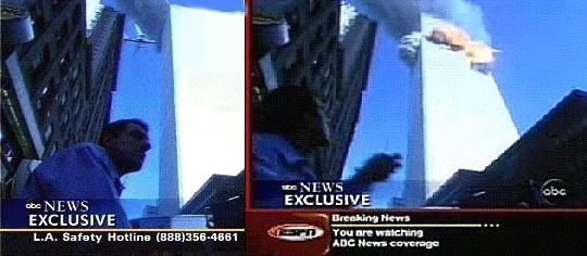 Famosa imagen del choque del primer avión contra las torres gemelas