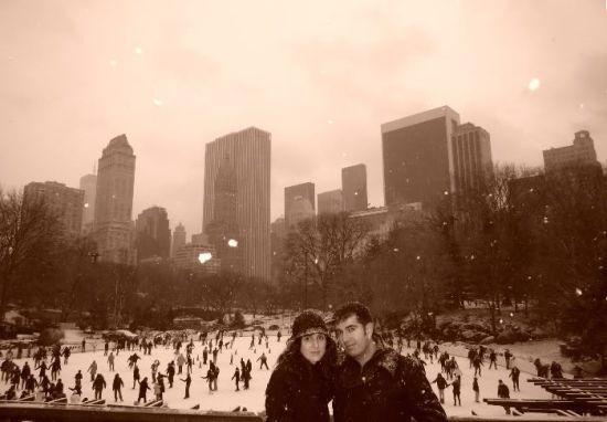 Desde la pista de nieve de Central Park