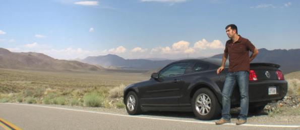 Javi con el Mustang V en el viaje por el oeste americano (verano de 2008)