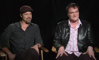 "Brad Pitt y Quentin Tarantino durante el rodaje de ""Malditos Bastardos"" (""Inglourious Basterds"", 2009)"