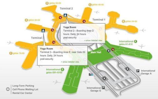 Mapa interactivo de la web oficial del aeropuertoen que puedeconsultarse la ubicación de las salas de yoga.