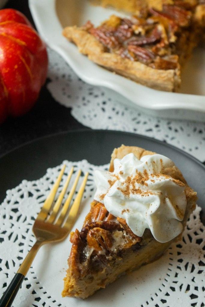 pumpkin pie with honey rum whipped cream