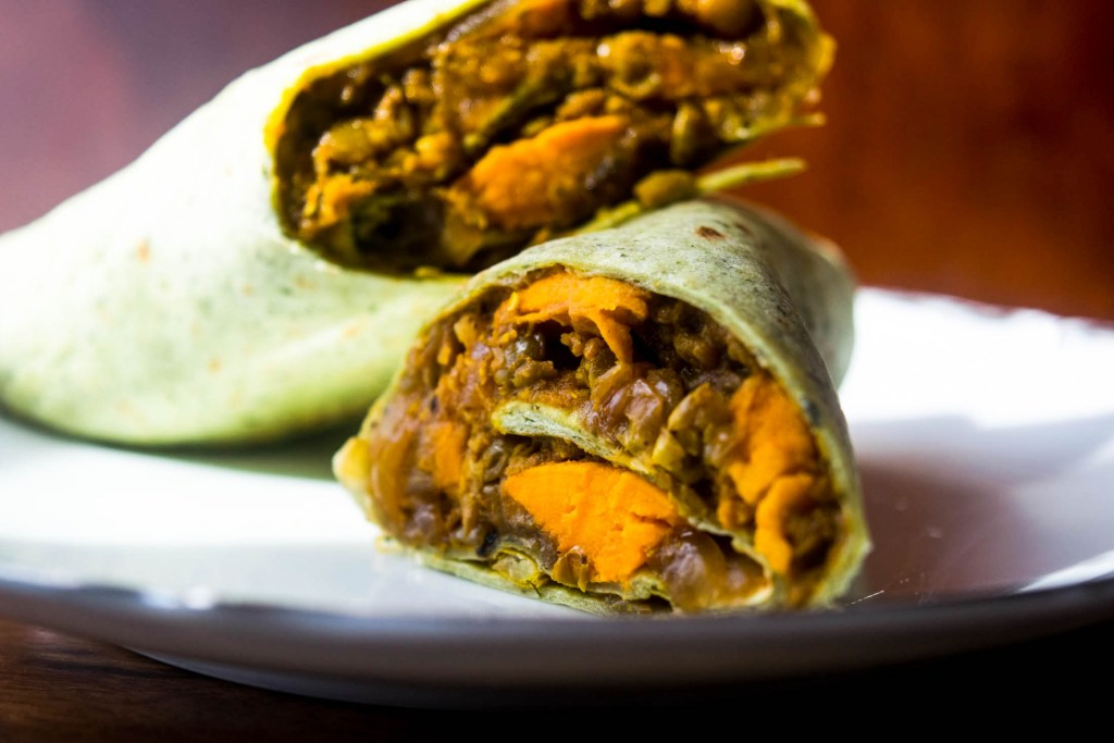 curried sweet potato and lentil wraps