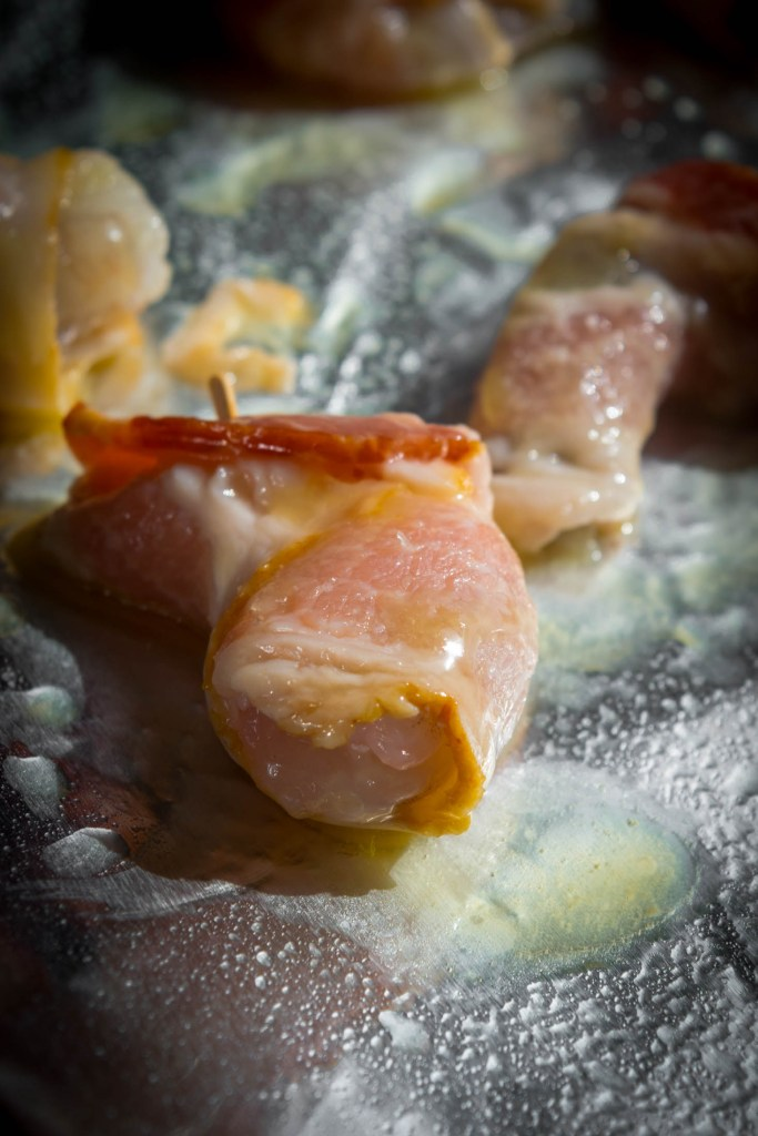 bacon wrapped shrimp with honey