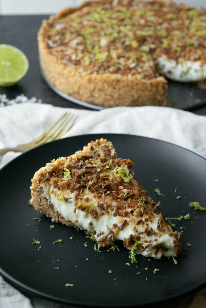 serving lime cheesecake