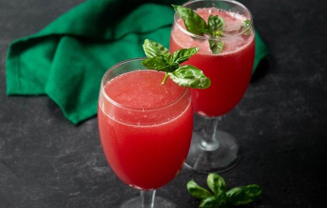 watermelon basil mimosa