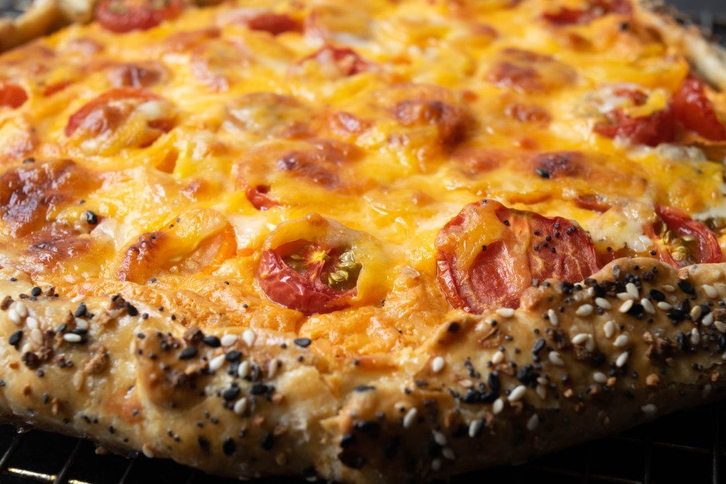 Pimento Cheese, Tomato and Cheddar Galette with Everything Bagel Crust