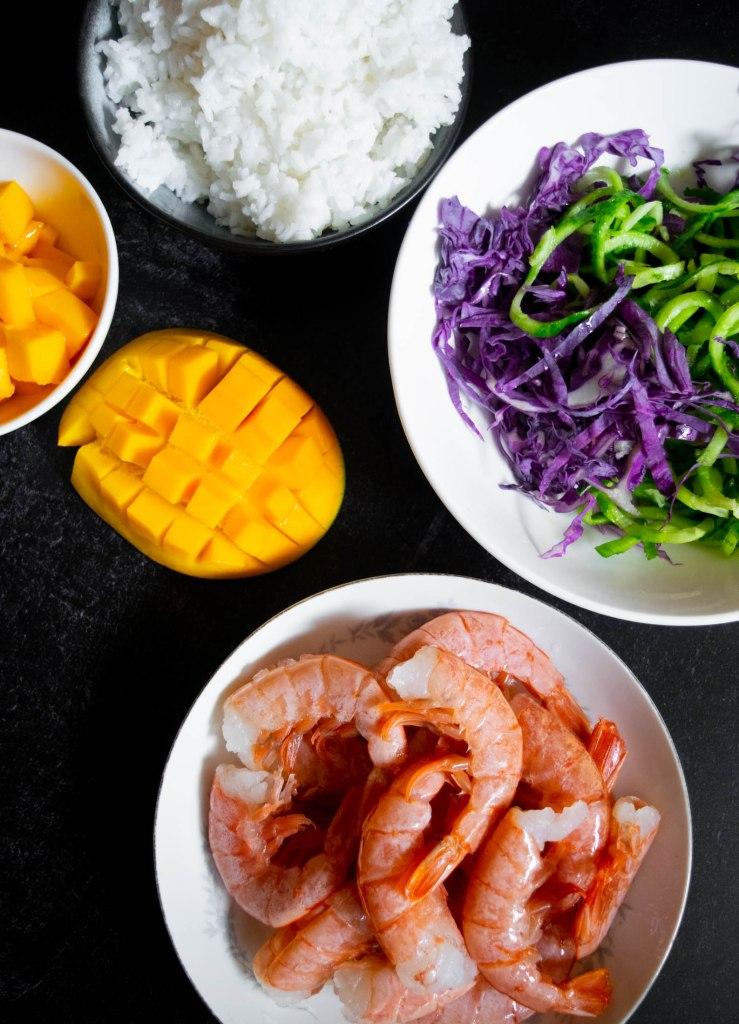 shrimp and mano poke bowl ingredients