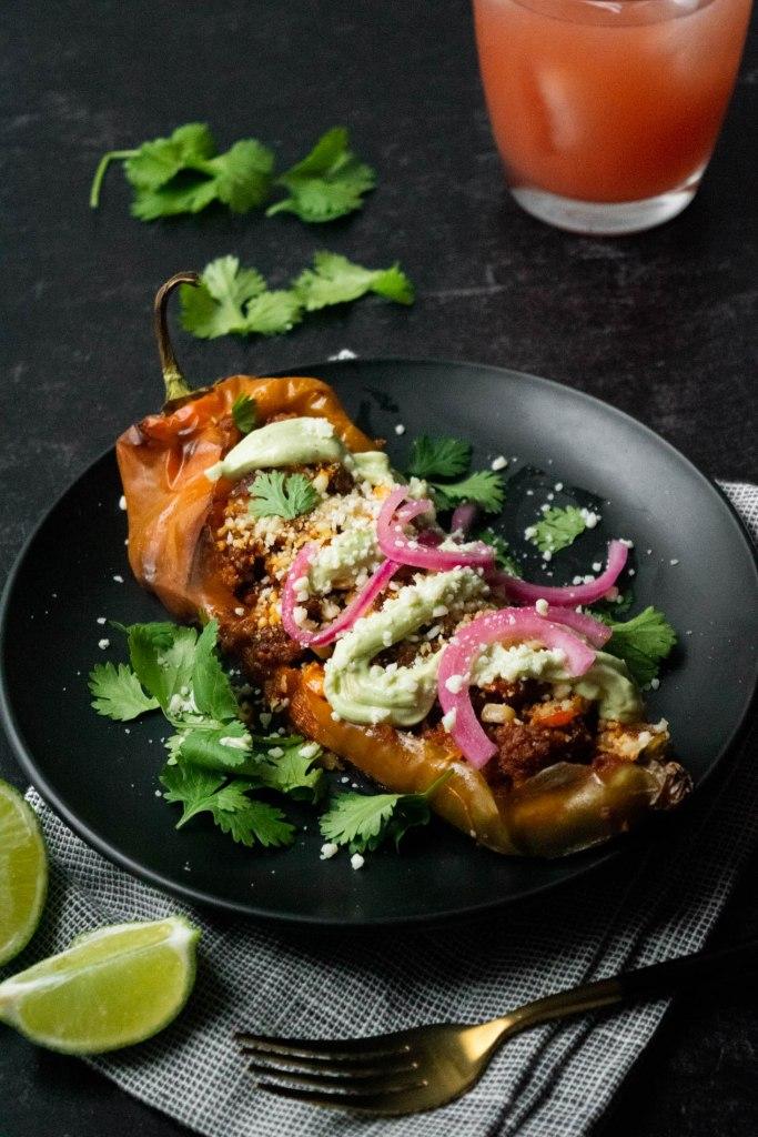 vegetarian chorizo stuffed hatch chilis
