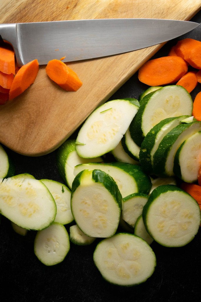 sliced carrots and zucchini