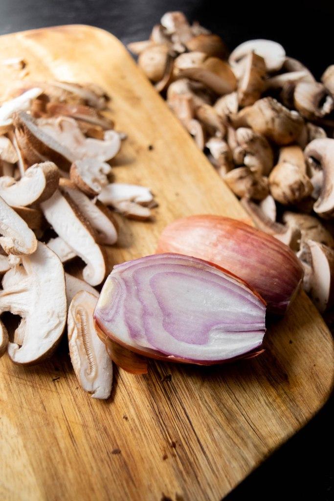 sliced mushrooms and shallots