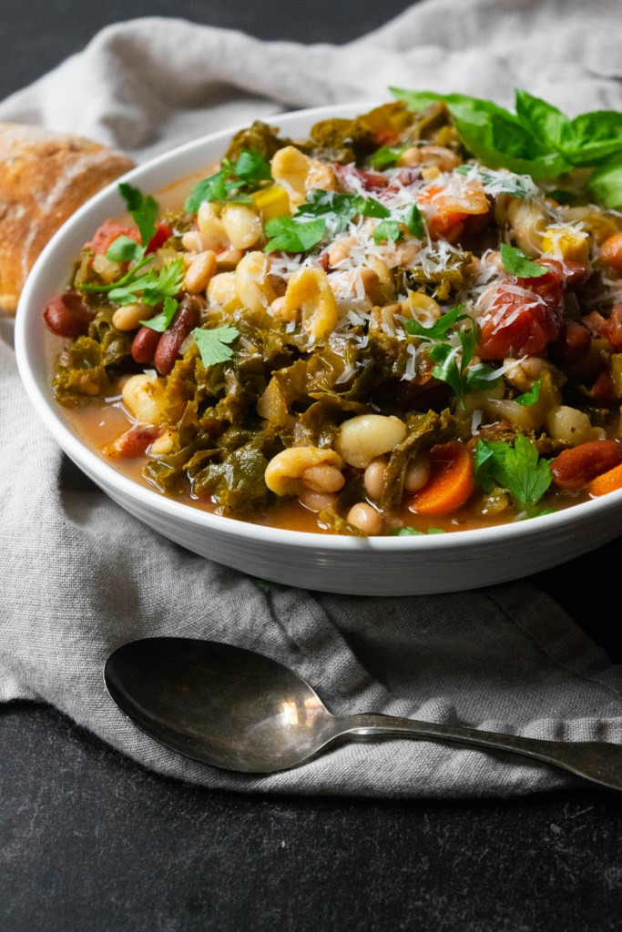 vegetarian minestrone with cheese