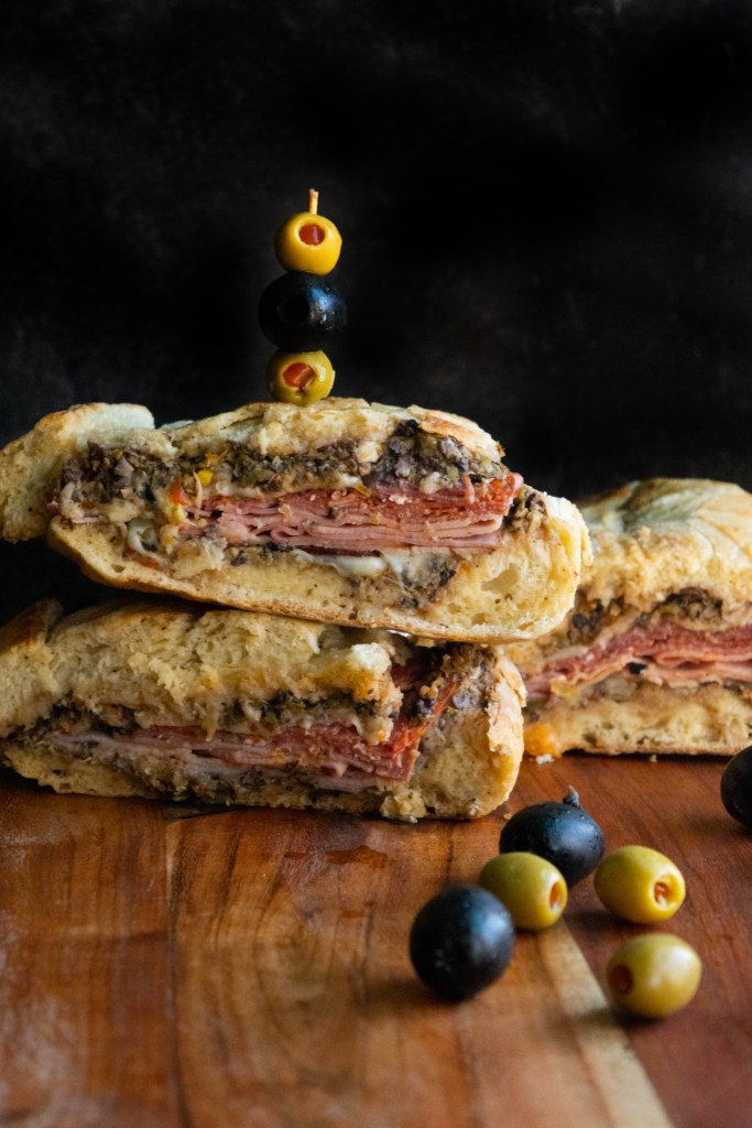 Muffuletta with spicy meats