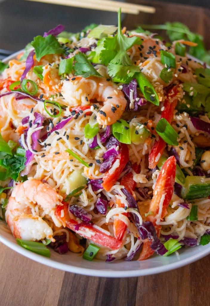 Thai Shrimp Noodle Salad with Peanut Dressing