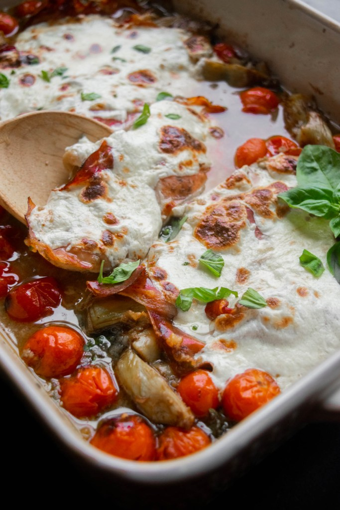 30 Minute Prosciutto Mozzarella Chicken Breast