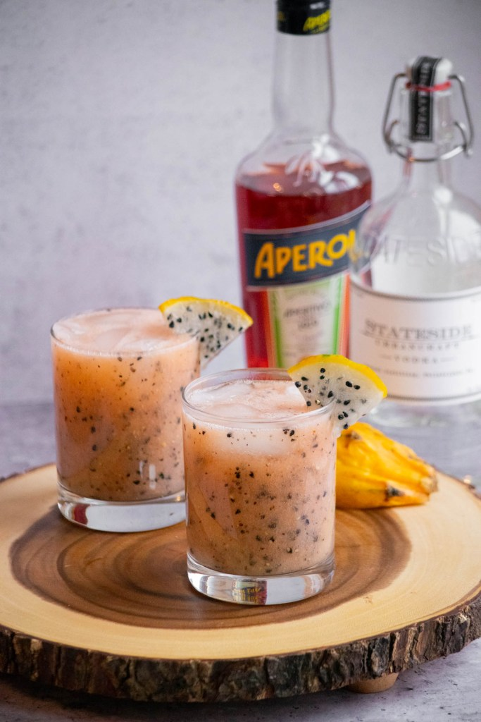 aperol vodka and dragon fruit drinks