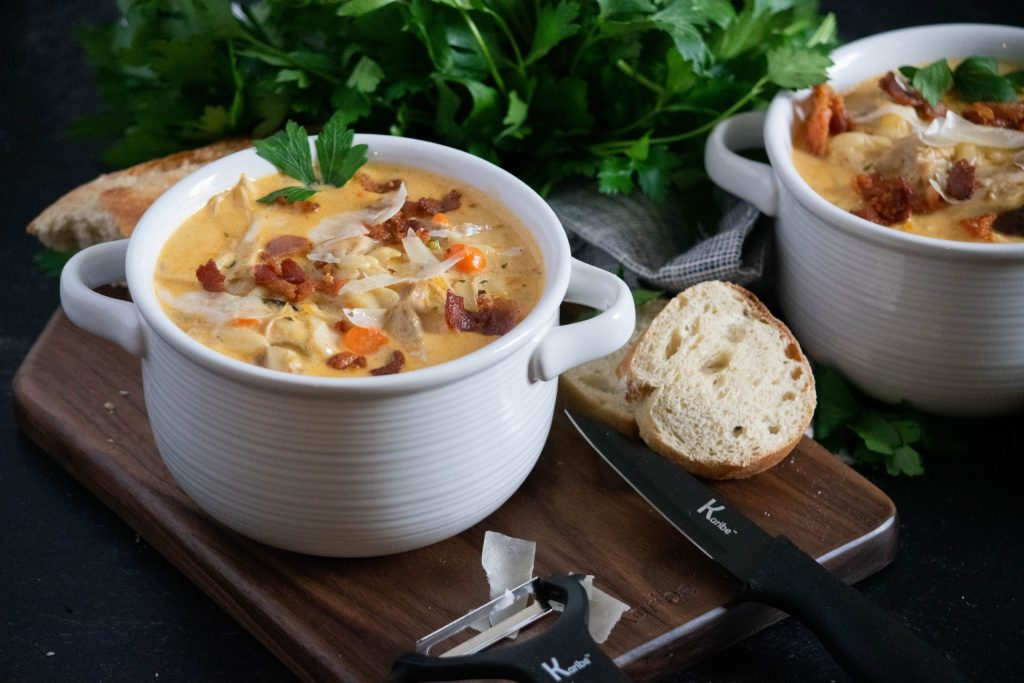 Creamy Orzo Soup with Chicken and Bacon