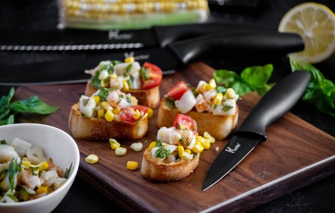 Seafood Bruschetta with Corn, Scallops and Shrimp