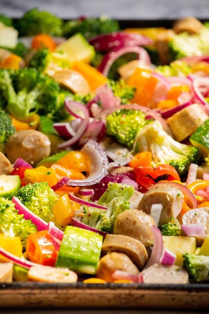 veggies and chicken sausage on sheet pan