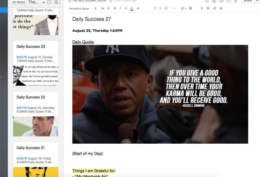 Daily Journal using Evernote
