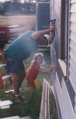 """Dad and I """"building"""" the house together"""