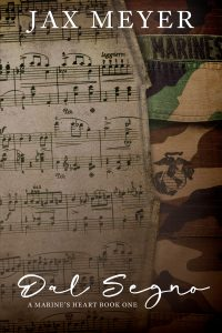 Book cover with music pages on the left and a Marine uniform on the right