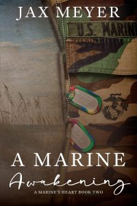 book cover with a beach on the left and Marine uniform on the right