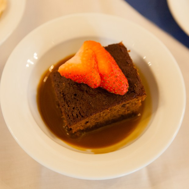 Event catering - Sticky toffee pudding with fresh strawberry decoration