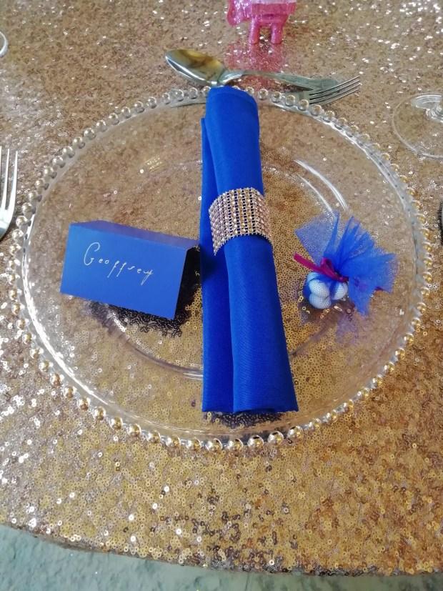 rose gold & royal blue table setting