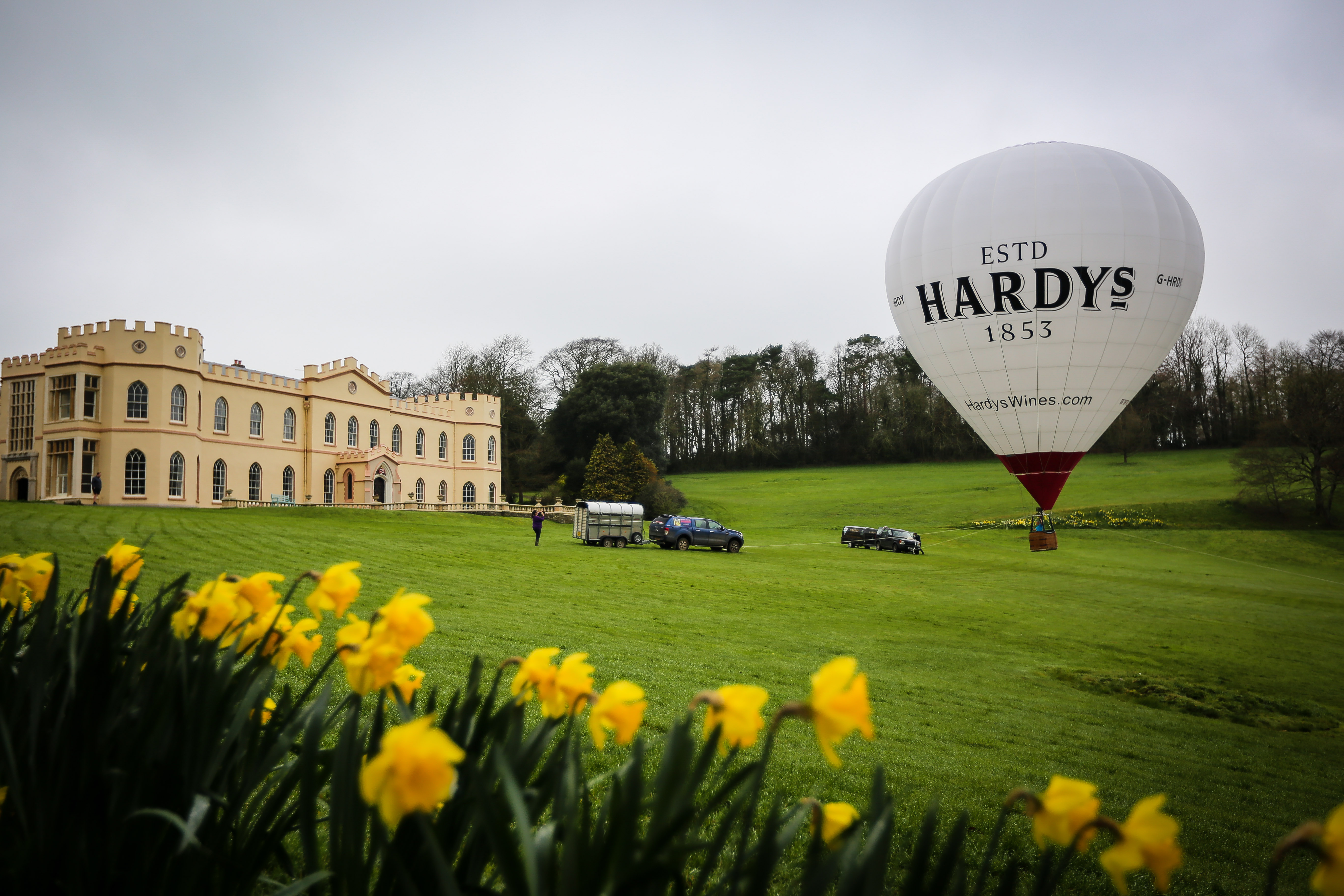 Tawstock court in the distance with hot air balloon on the lawn
