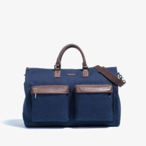 Men's Twill Garment Weekender Bag in Navy by Hook & Albert