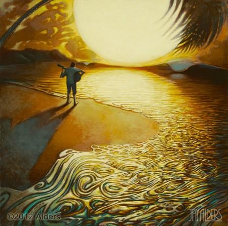 Guitar player ocean painting by Jay Alders