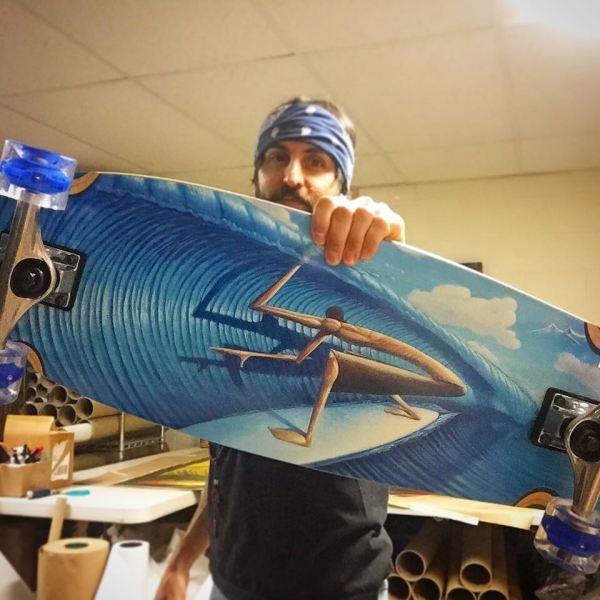 Jay Alders surf art skateboard from sunrise with cut lip surf art