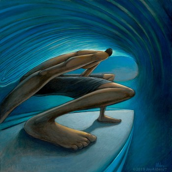 The Down Low - Surfer in a barrel, art by surf inspired artist Jay Alders