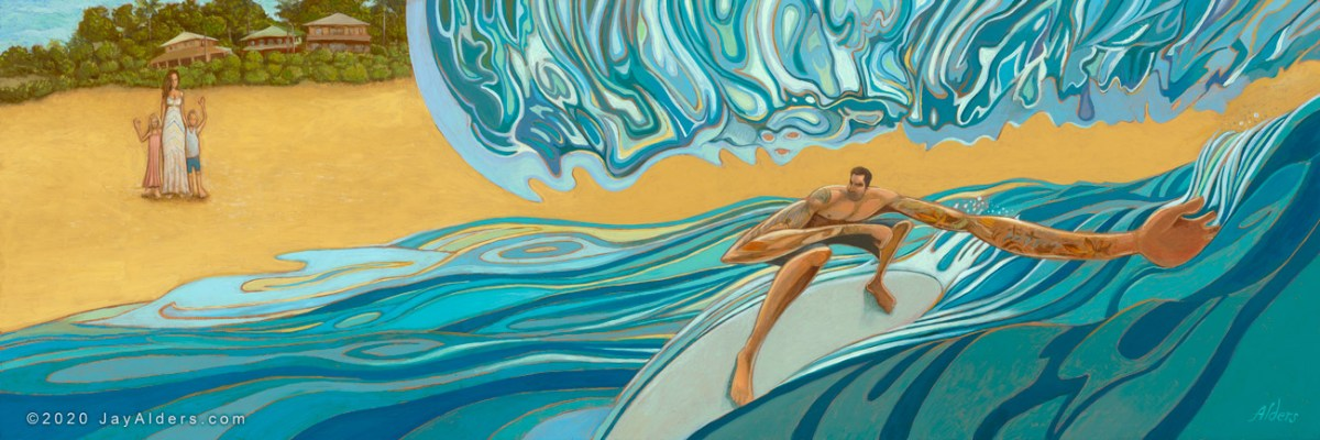 Dad surfing with his family watching him on the north shore by painter Jay Alders