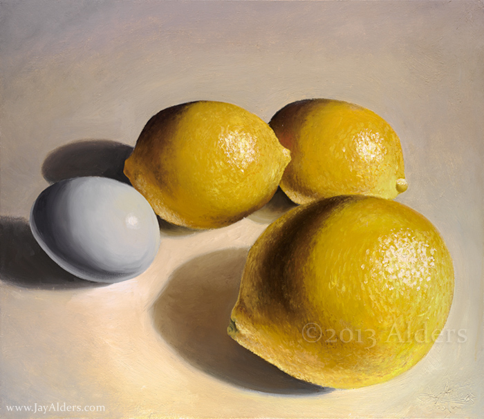 lemons and egg - oil painting by Jay Alders