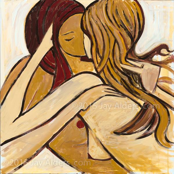 Love Spiral - Lesbian Kiss Art
